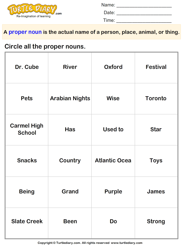 Circle The Words That Are Proper Nouns Worksheet