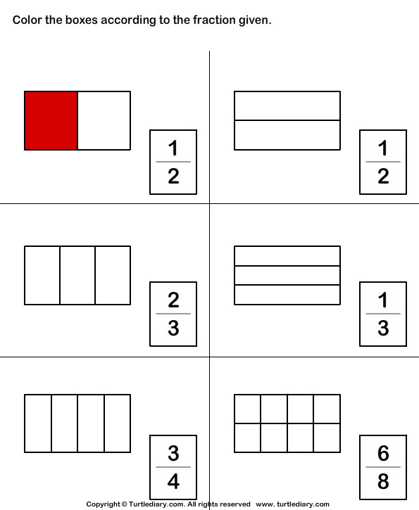 Color Shape To Show Fraction Worksheet