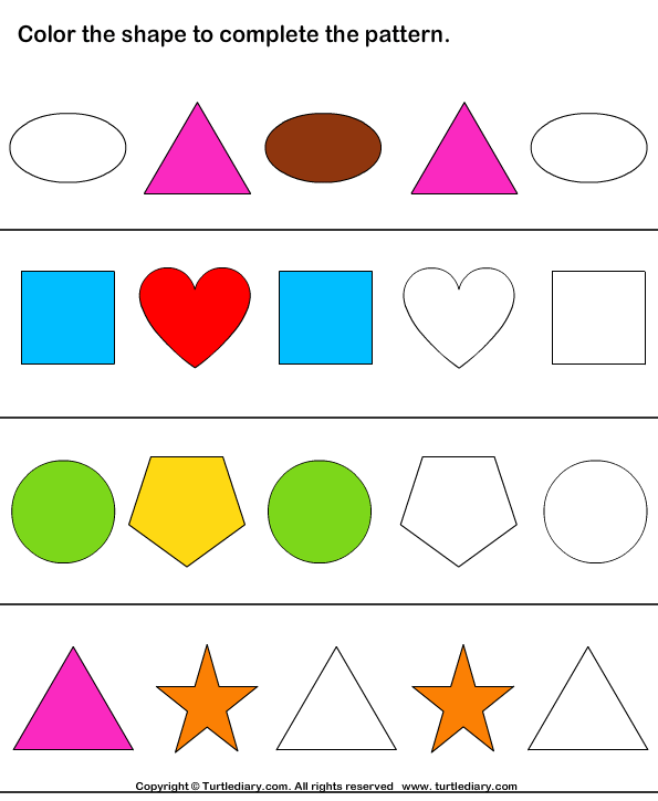 Complete Patterns By Coloring The Missing Shapes Worksheet