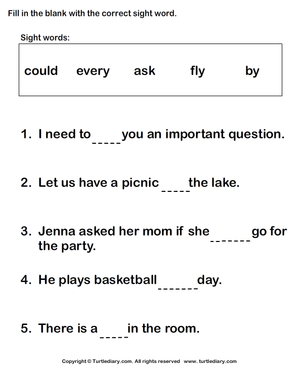 1st Grade Sight Words Worksheets