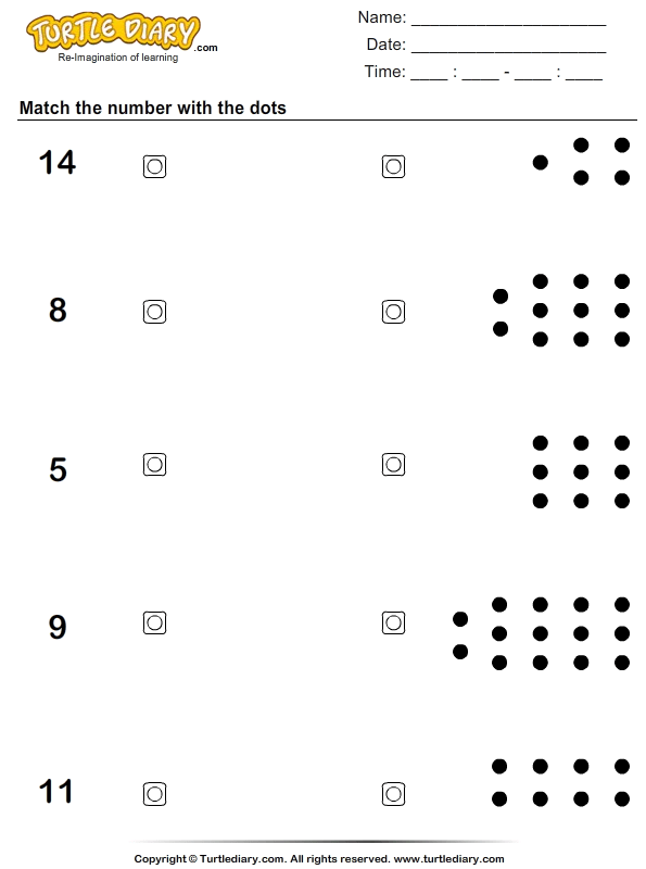 Count The Dots And Match Worksheet