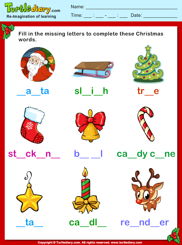 Fill Missing Letters Christmas Vocabulary Worksheet