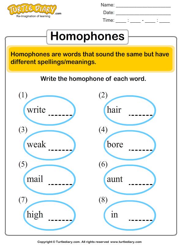 Finding Homophones Worksheet