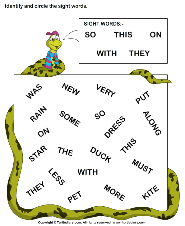 Identify Sight Words So This On With They Worksheet