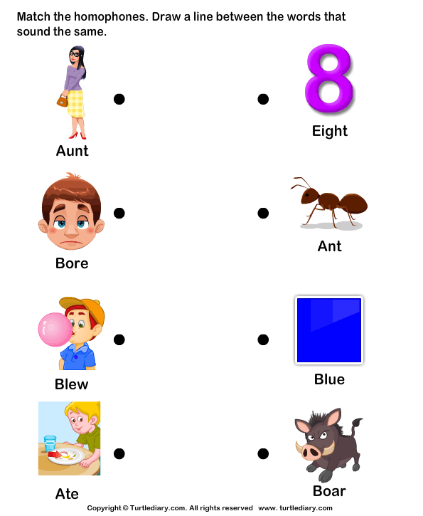 Match The Homophones Ate And Eight Worksheet