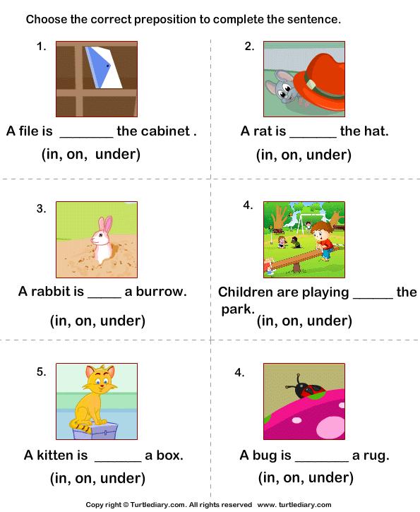 Prepositions In On Under Worksheet