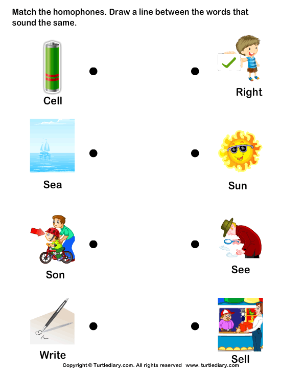 Same Sound Words Matching Worksheet