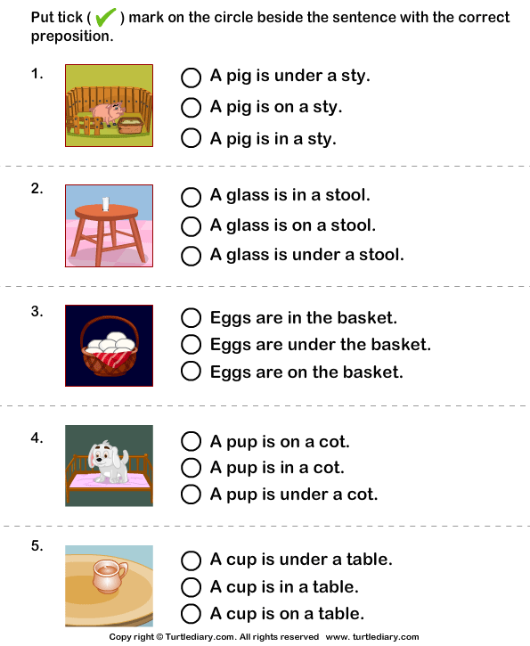 Sentence With The Correct Preposition For Picture