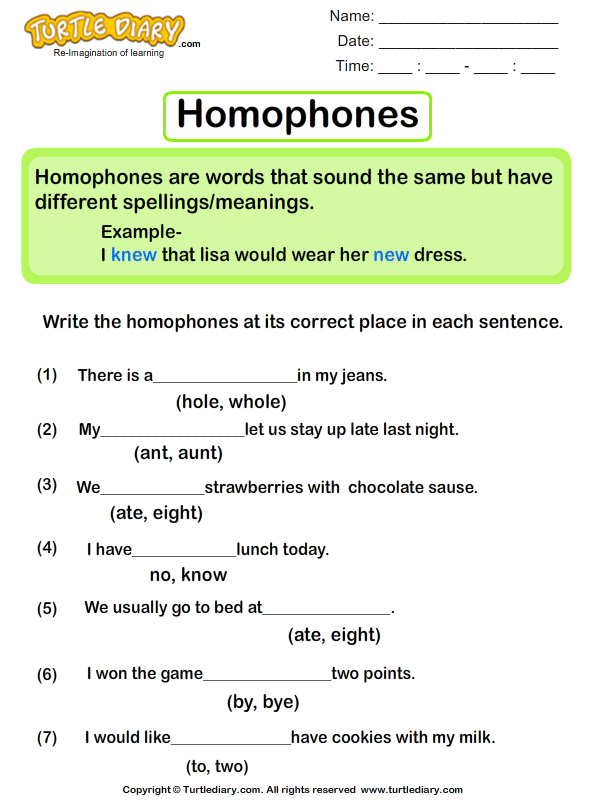 Sentences With Homophones Worksheet