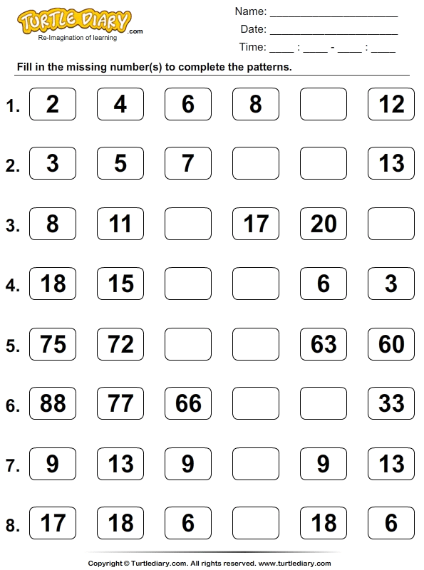 Skip Count To Complete Patterns Worksheet
