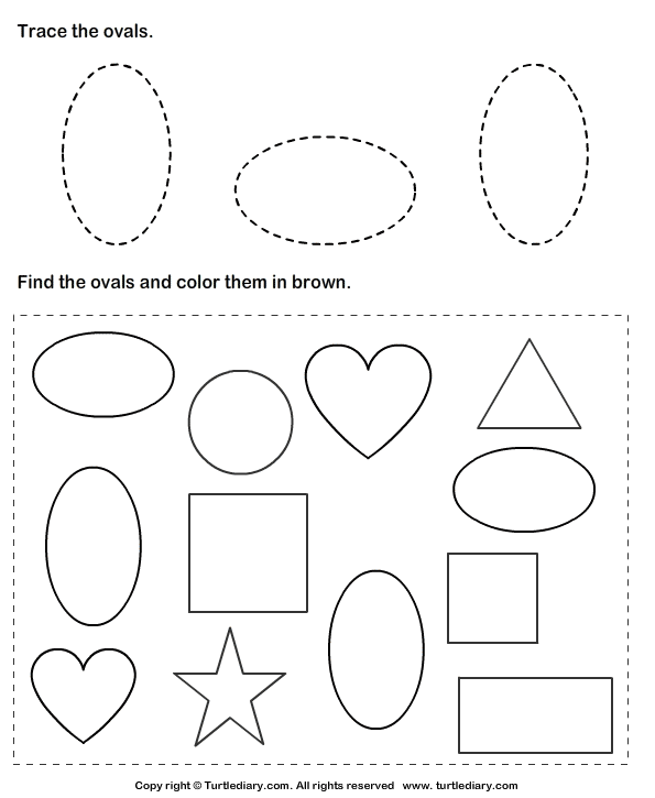 Trace Ovals And Color Them Worksheet