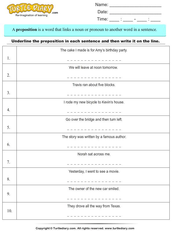 Underline Preposition And Write It Worksheet