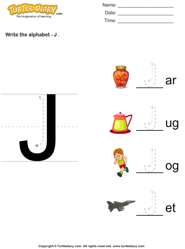 Write Alphabet J In Uppercase Worksheet Turtle Diary