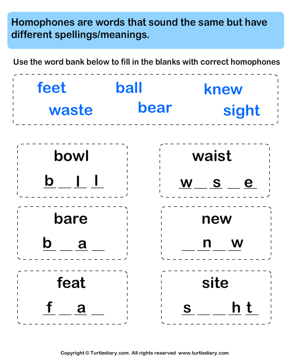Write Missing Letters And Complete Homophone Words