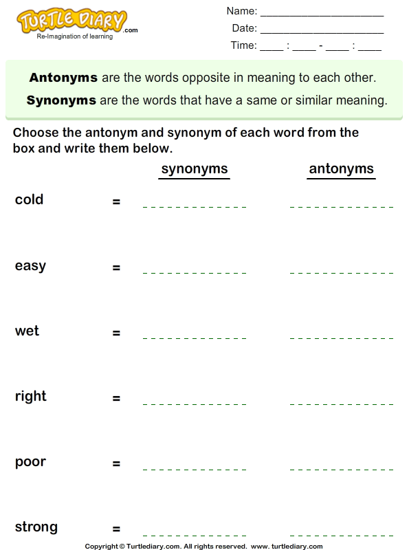 Write The Synonym And Antonym Of Each Word Worksheet