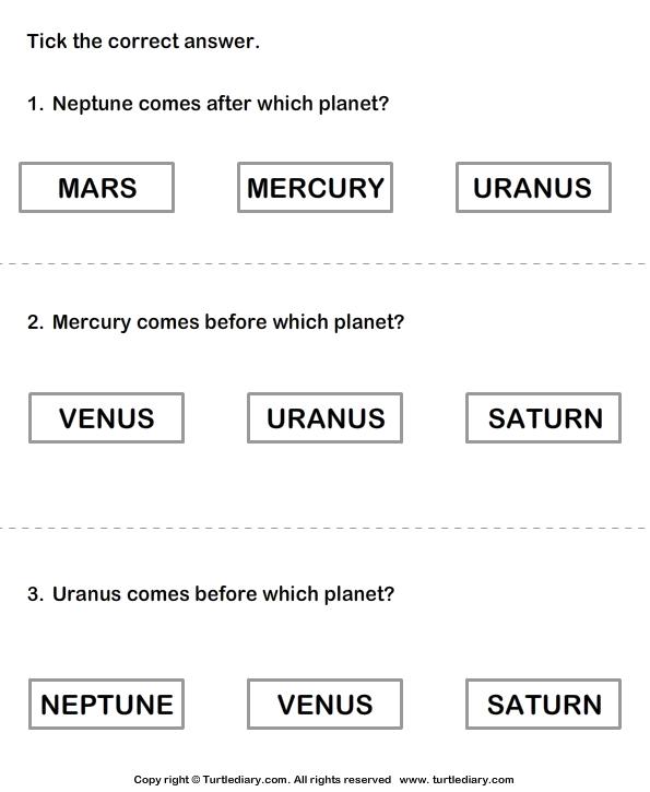 Solar System Choose The Correct Option Worksheet 7 ...
