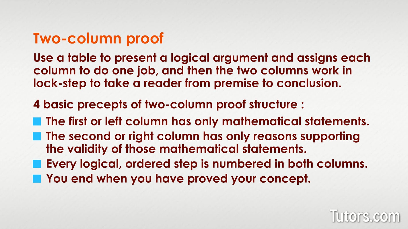 Two Column Proof In Geometry Definition Examples Amp Video