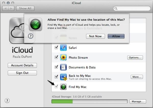 Activez Localiser mon Mac et autorisez Localiser mon Mac à suivre la position de votre Mac.