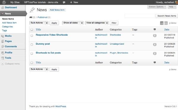 rename menu posts to news in admin