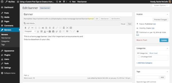 banner post type in admin wordpress