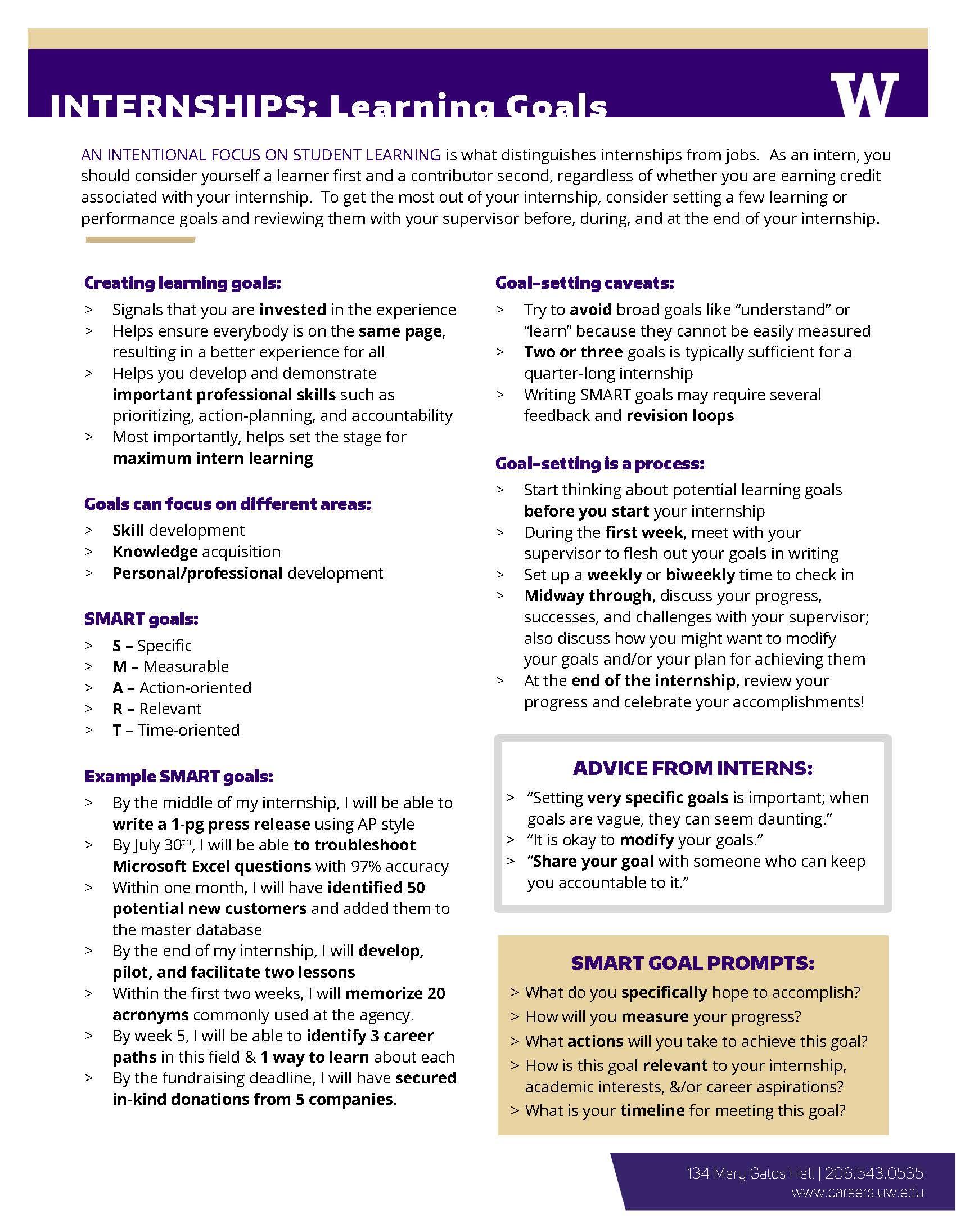 Creating Learning Goals Career Amp Internship Center