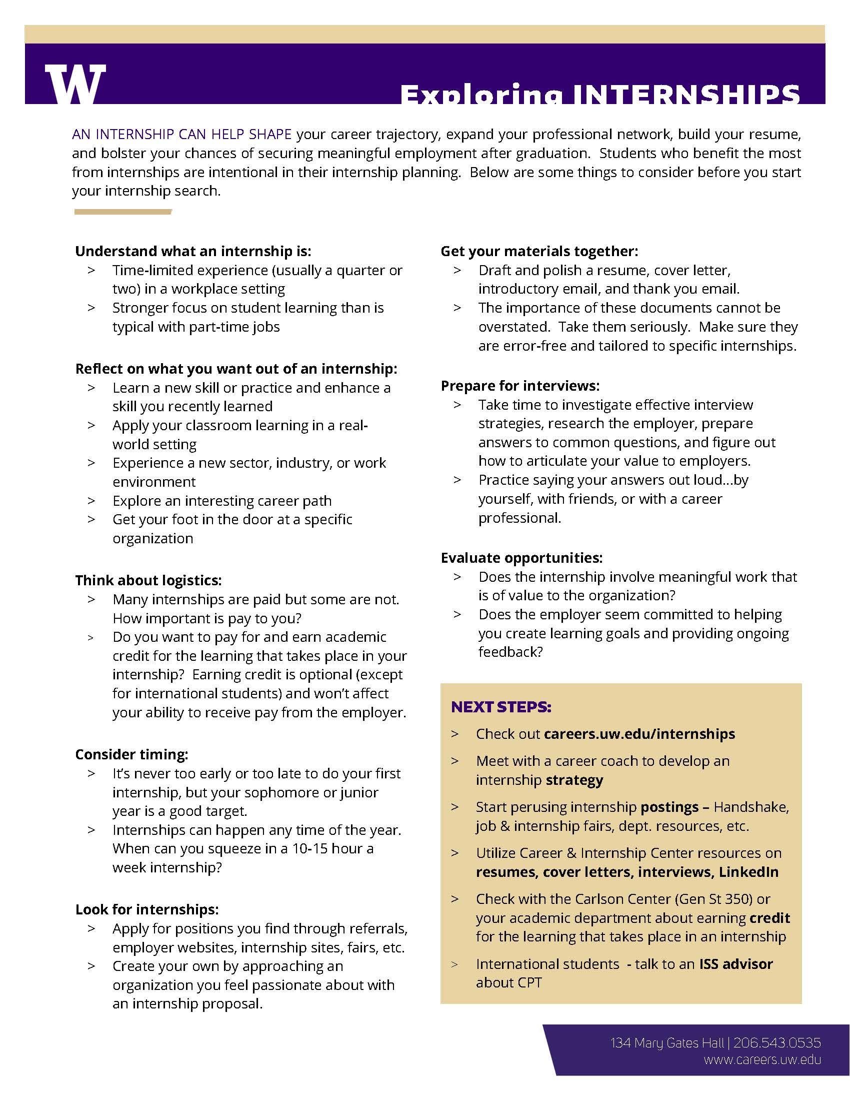 Exploring Internships Career Amp Internship Center