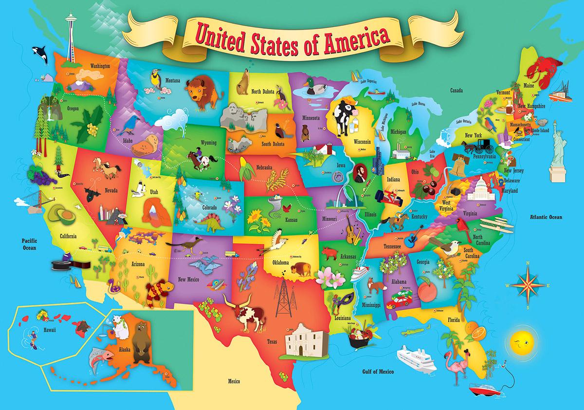 Usa Wood Map Jigsaw Puzzle