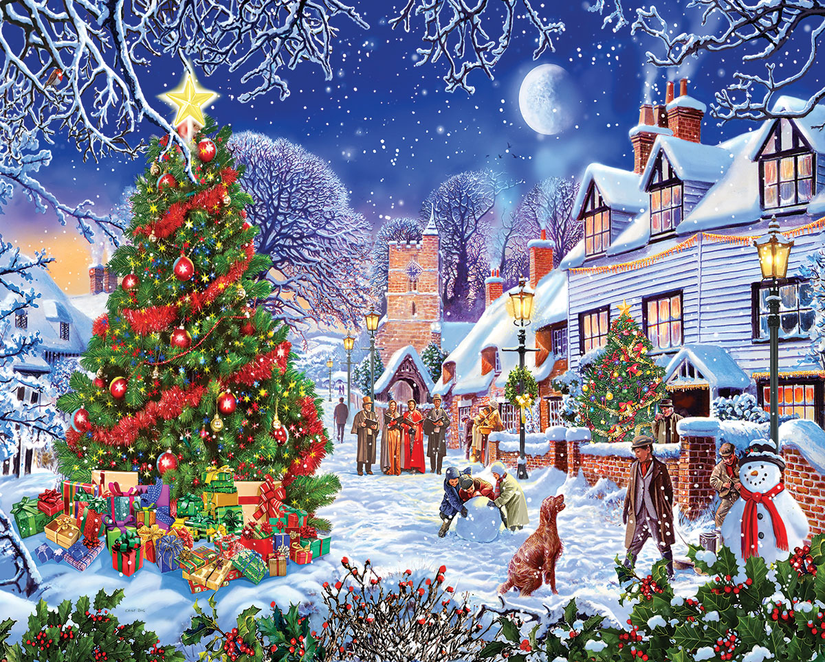 Village Christmas Tree Jigsaw Puzzle