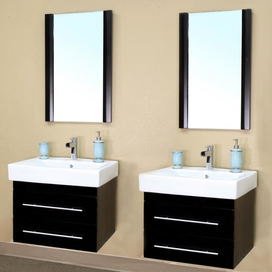 48 Inch Double Sink Wall Mount Bathroom Vanity In Black