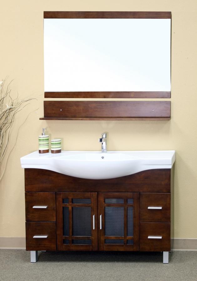 48 Inch Walnut Single Sink Bathroom Vanity with Drawers on {keyword}