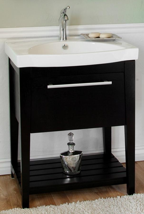 275 Inch Single Sink Bathroom Vanity With A Black Finish