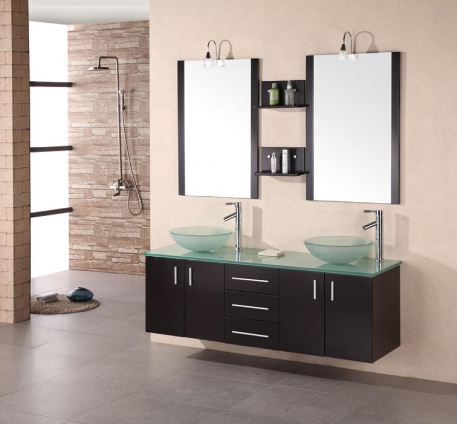 61 Inch Modern Double Vessel Sink Bathroom Vanity in ...