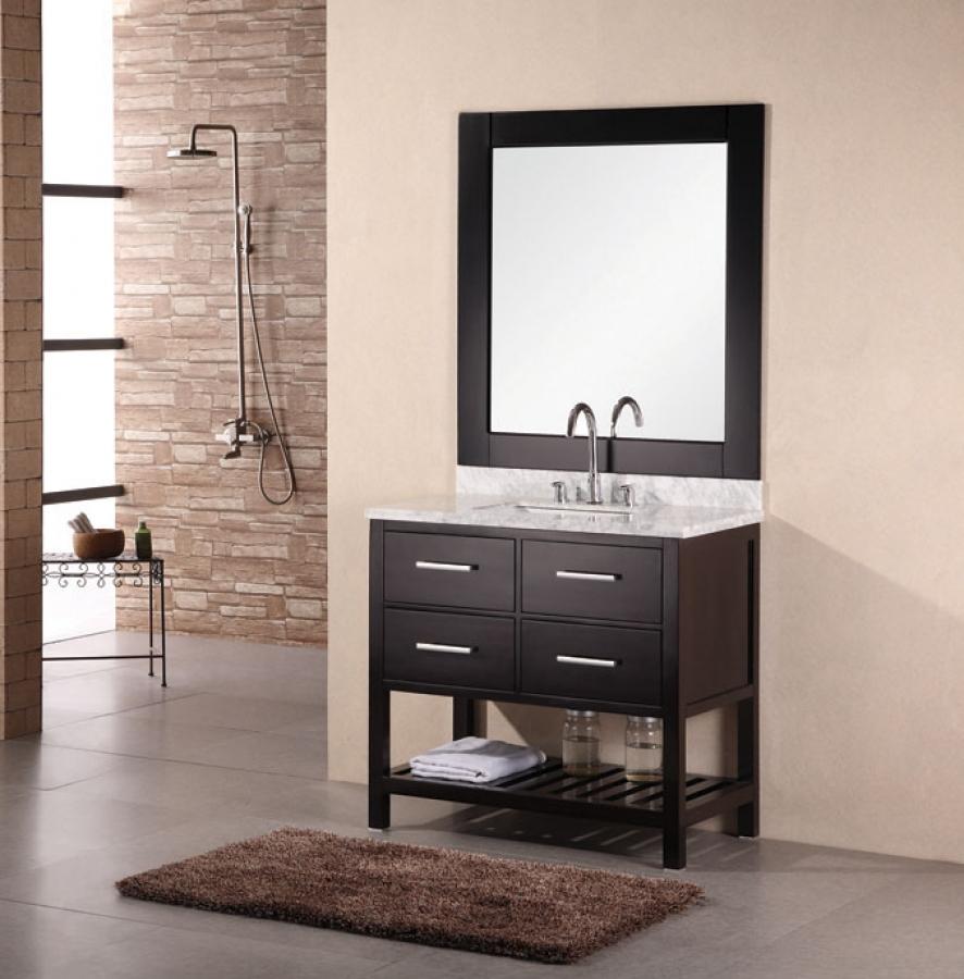 36 Inch Modern Single Sink Bathroom Vanity with Marble
