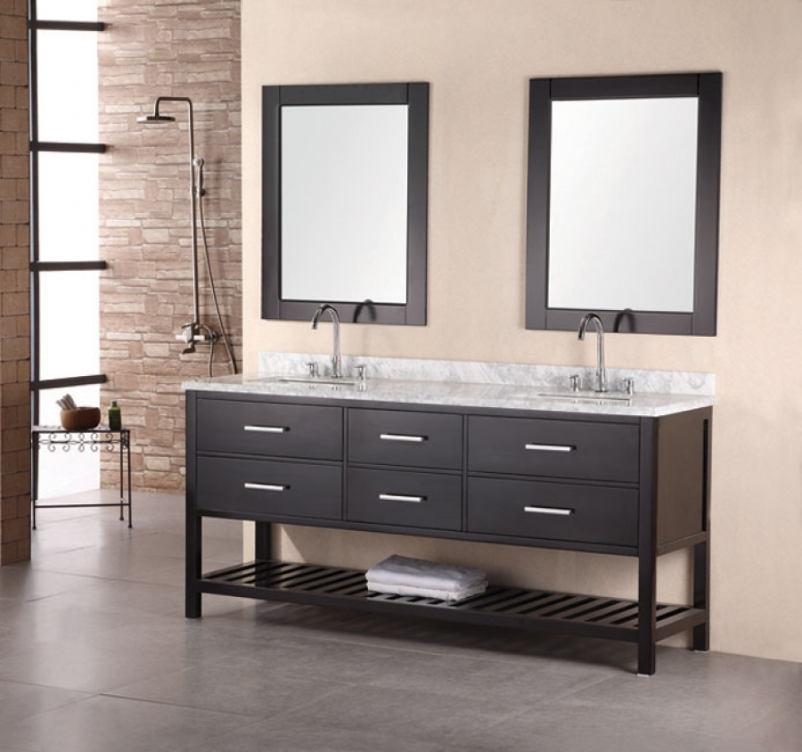 72 Inch Modern White Marble Double Sink Bathroom Vanity in ...