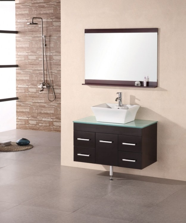 36 inch modern single vessel sink bathroom vanity with glass counter