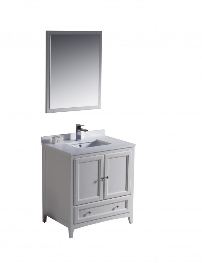 30 inch single sink bathroom vanity in antique white