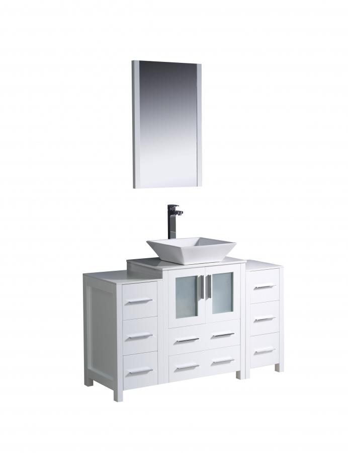 48 inch vessel sink bathroom vanity in white