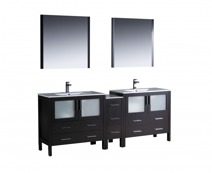 84 Inch Double Sink Bathroom Vanity In Espresso With