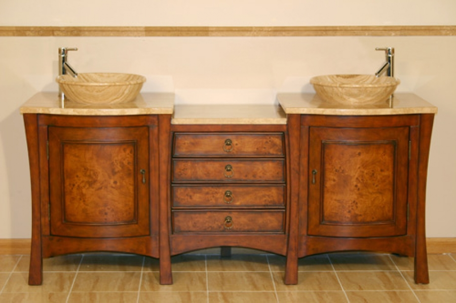 72 inch double vessel sink bath vanity with drawers