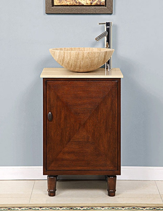20 inch vessel sink bathroom vanity with a travertine top uvsr022520