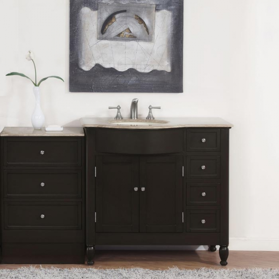 58 Inch Modern Single Bathroom Vanity With Travertine And