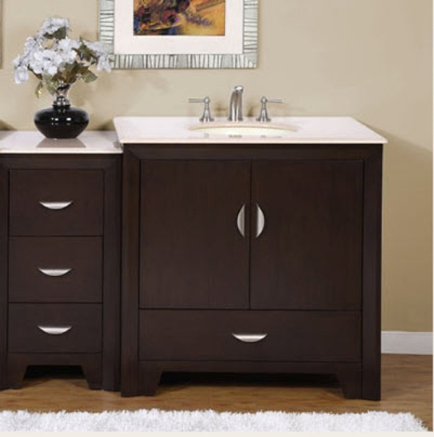 54 inch modern single bathroom vanity with choice of counter top and