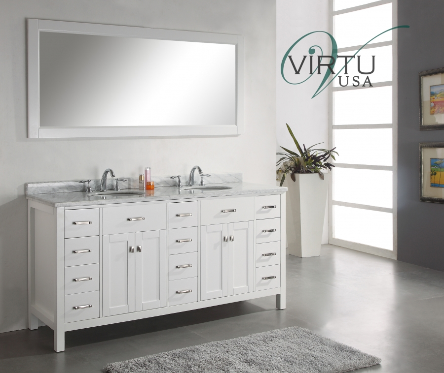 72 Inch Double Sink Bathroom Vanity With Carerra White