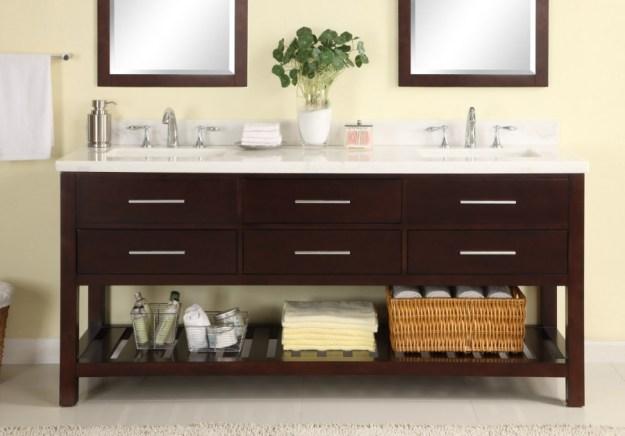72 inch double sink modern cherry bathroom vanity with open shelf
