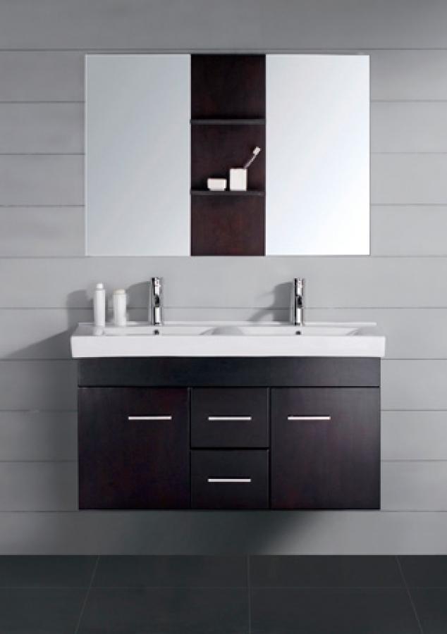 47 Inch Modern Double Sink Bathroom Vanity Espresso With