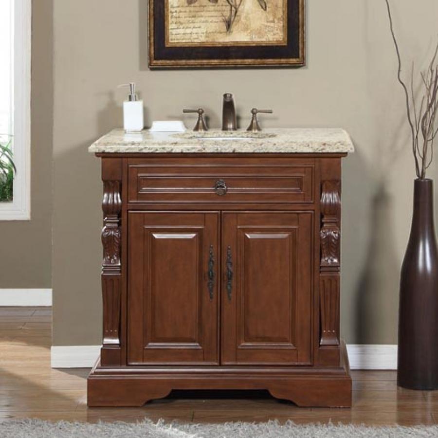 36 Inch Traditional Single Bathroom Vanity With Venetian