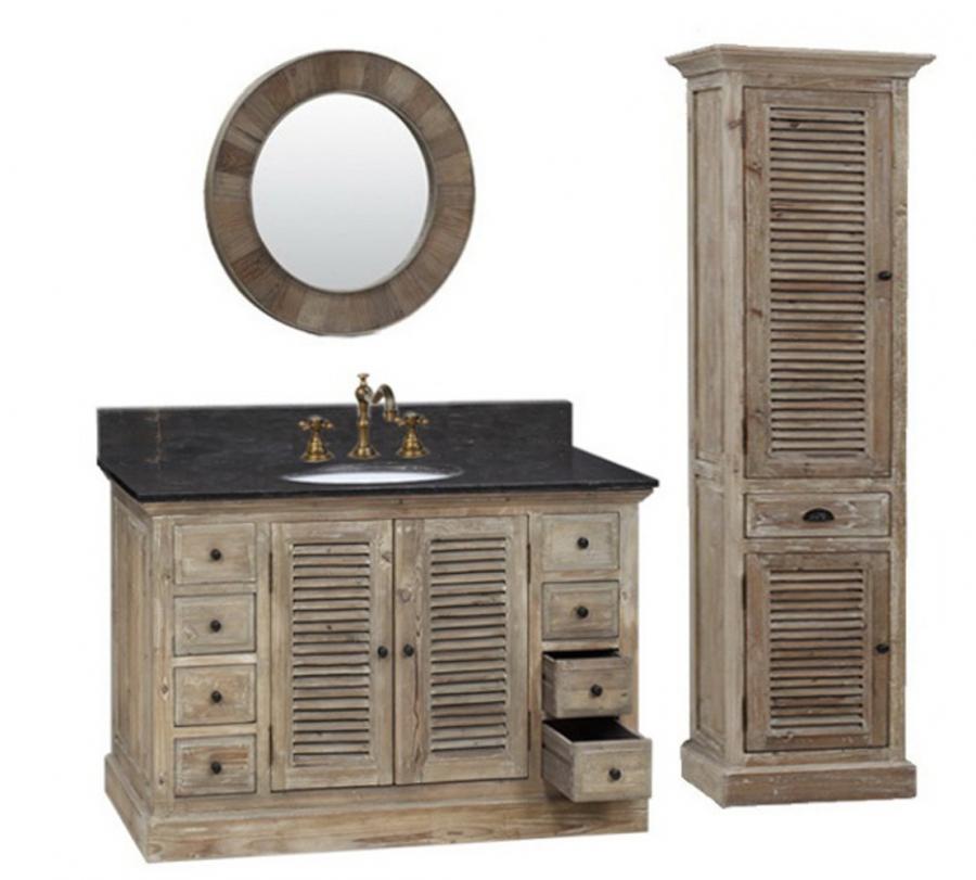 48 inch single sink bathroom vanity with black marble