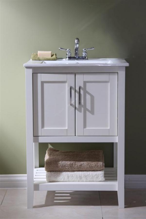 24 Inch Single Sink Bathroom Vanity In White UVLFWLF6020W24