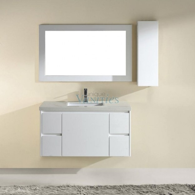 42 inch single sink bathroom vanity with choice of top in high gloss
