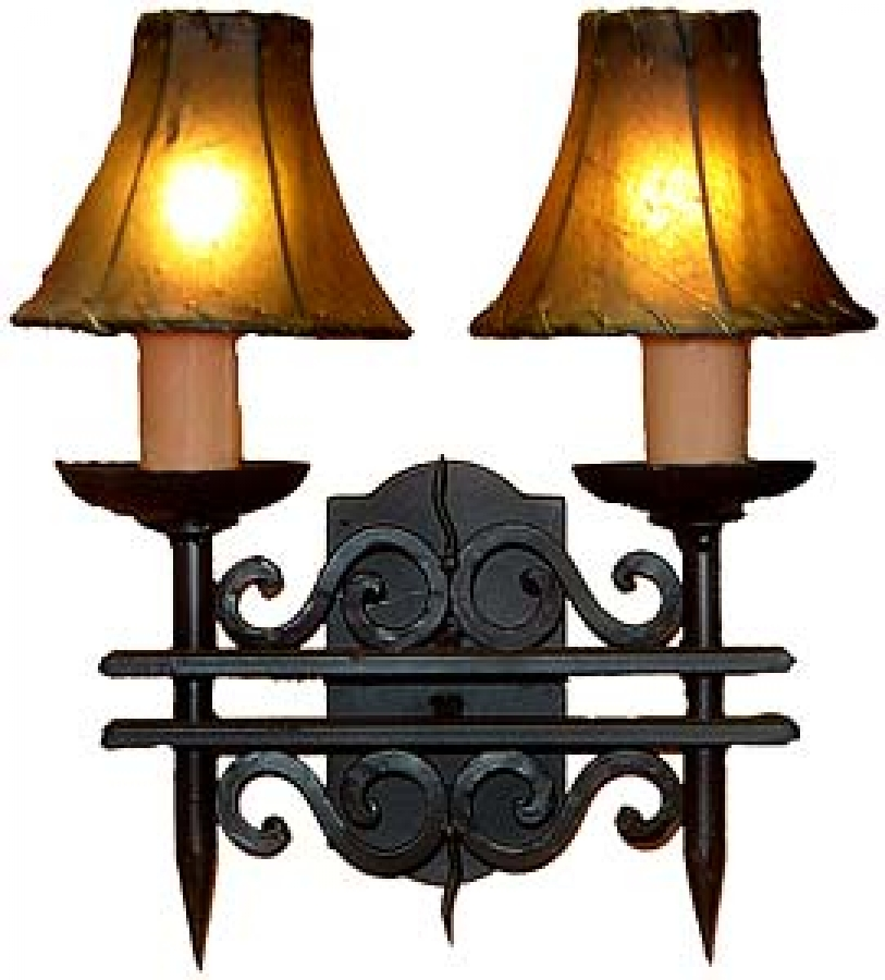 2 Light Hand Forged Wrought Iron Wall Sconce UVAGWS002 on Wrought Iron Sconces Wall Lighting id=31708